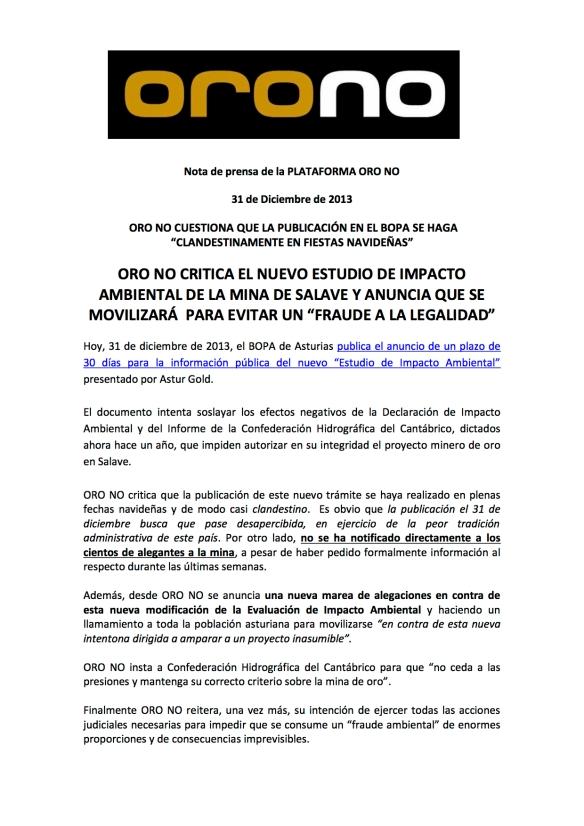Nota de prensa ORO NO nuevo EIA 31122013