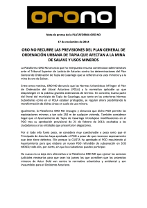 Nota de prensa ORO NO impugnacion PGOU Tapia 17112014