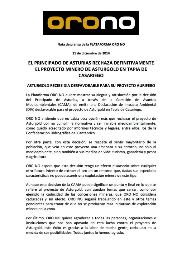nota prensa RECHAZO PROYECTO ASTURGOLD 21122014