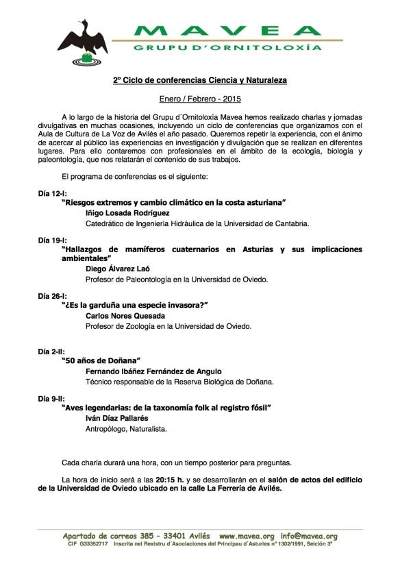 150108 2º ciclo conferencias divulgativas Mavea-LVA