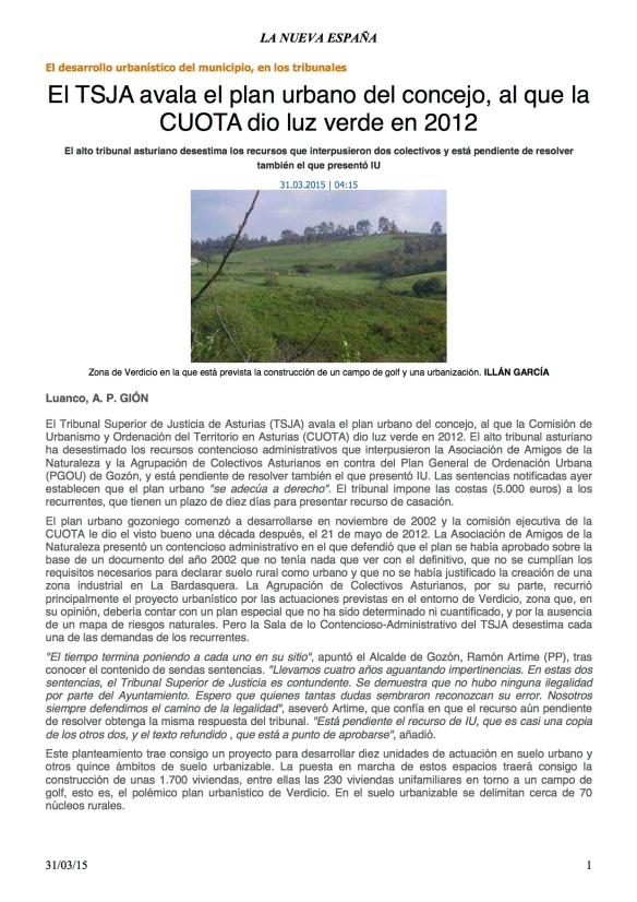 LNE El TSJA avala el plan urbano del concejo, al que la CUOTA dio luz verde en 2012